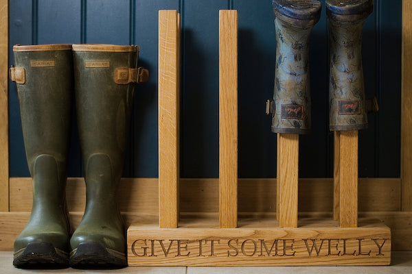 Oak Welly Boot Rack
