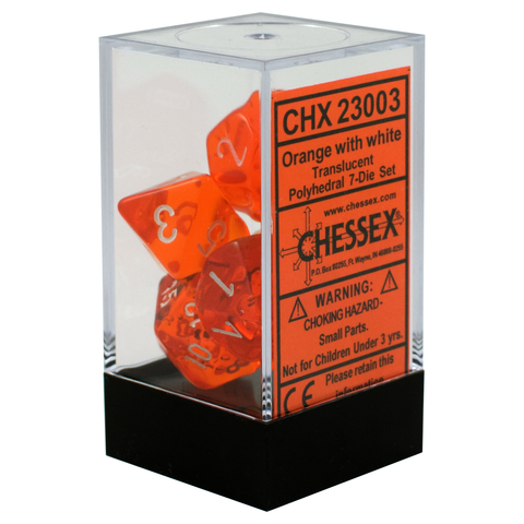 Translucent Orange / White Writing - Dice Set (Chessex)