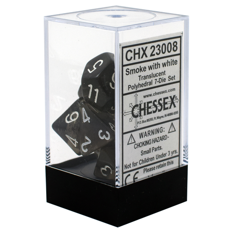 Translucent Smoke / White Writing - Dice Set (Chessex)