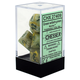 Marble Green / Dark Green Writing - Dice Set (Chessex)
