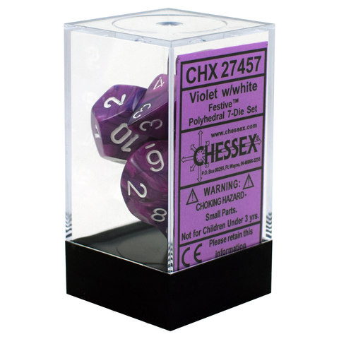 Festive Polyhedral Violet / White Writing - Dice Set (Chessex)