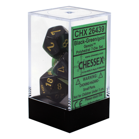 Gemini Black & Green / Gold Writing - Dice Set (Chessex)