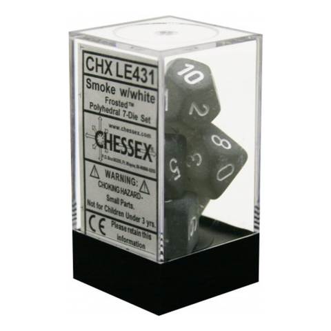 Frosted Smoke / White Writing - Dice Set (Chessex)