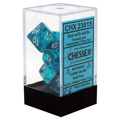 Translucent Teal / White Writing - Dice Set (Chessex)
