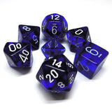 Translucent Blue / White Writing - Dice Set (Chessex)