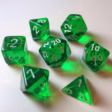 Translucent Green / White Writing - Dice Set (Chessex)