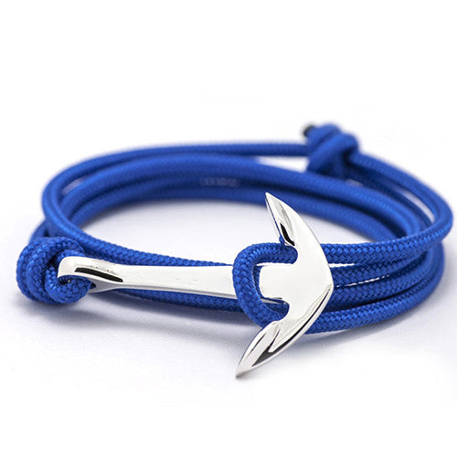 Royal Blue - Silver Anchor Bracelet