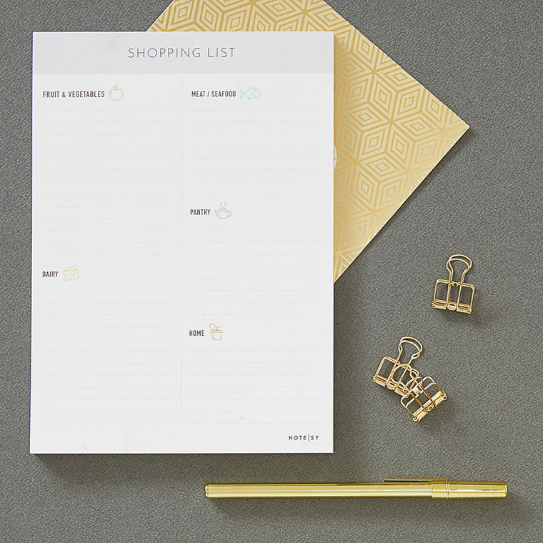 Categorized Shopping List Notepad