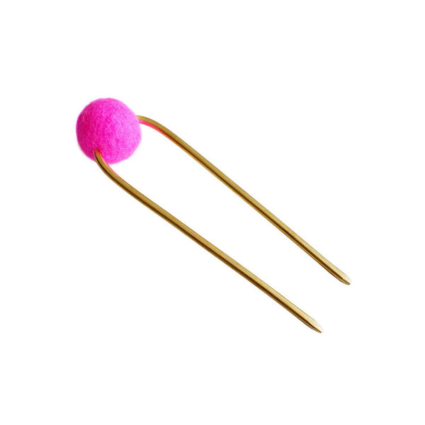 hot pink dot Bun pin tall