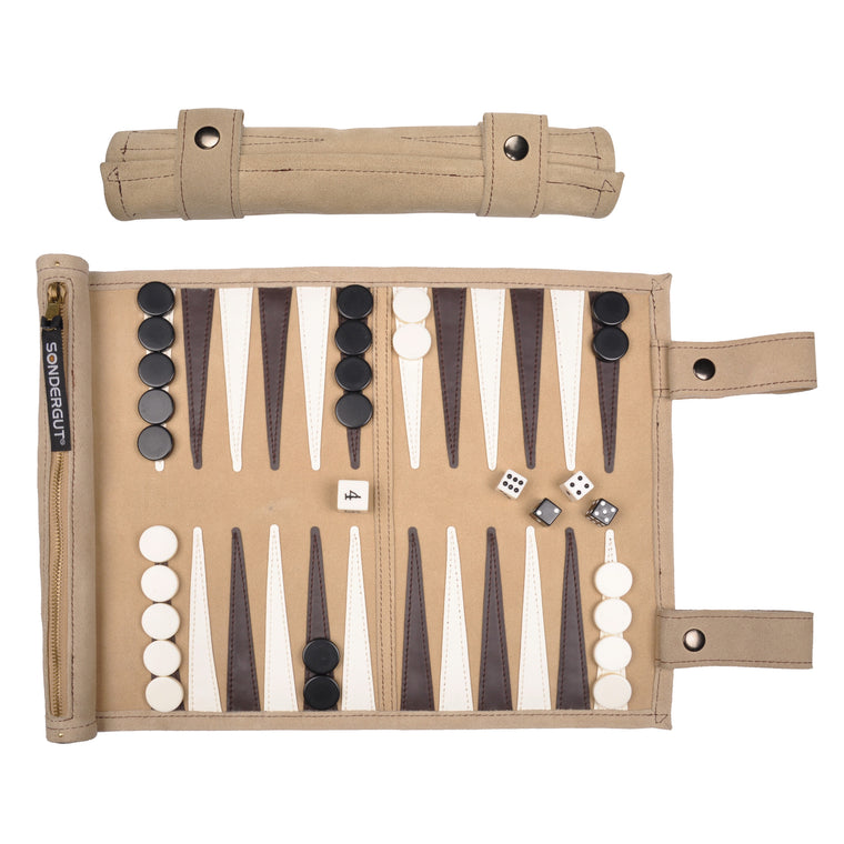 Backgammon Roll-Up Travel Set (Sand)