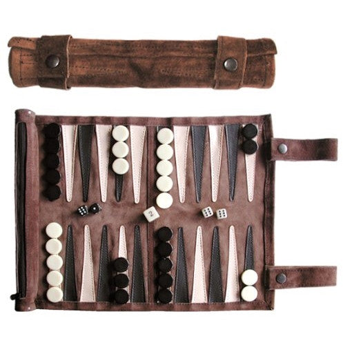 Backgammon Roll-Up Travel Set (Mocca)