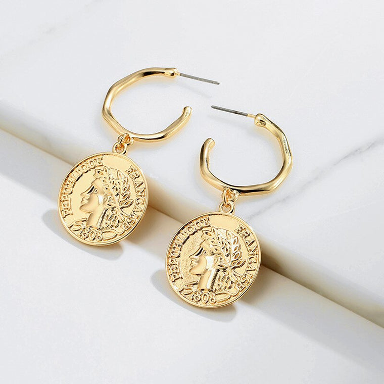 vintage gold coin earrings with hook