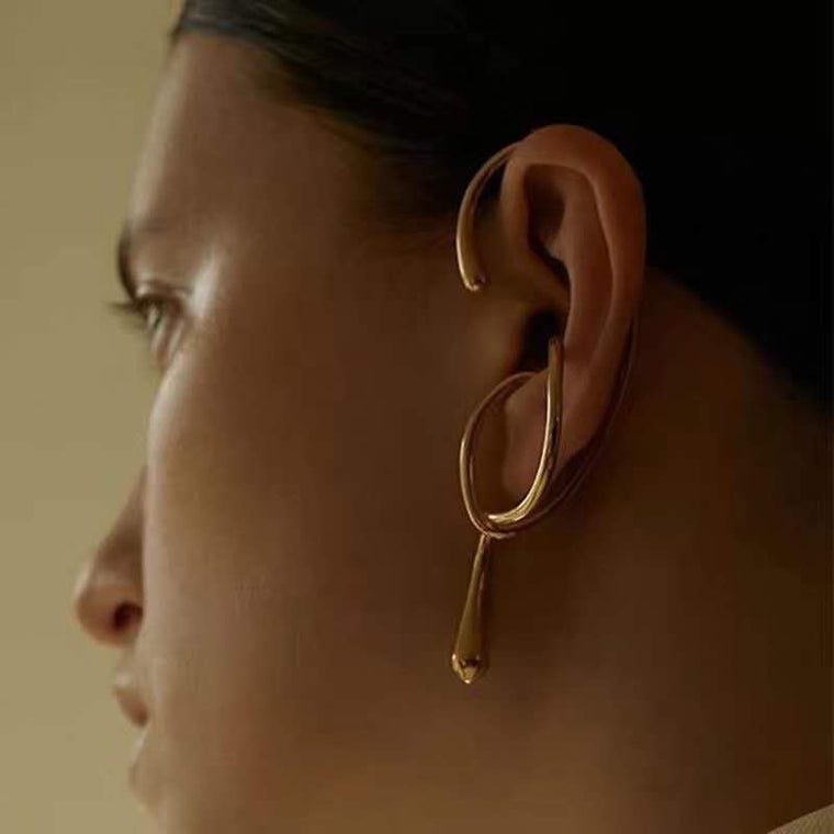 Gold Geometric Ear Cuff Earrings
