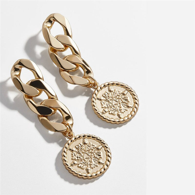 Long Chain Coin Statement Round Dangle Earrings