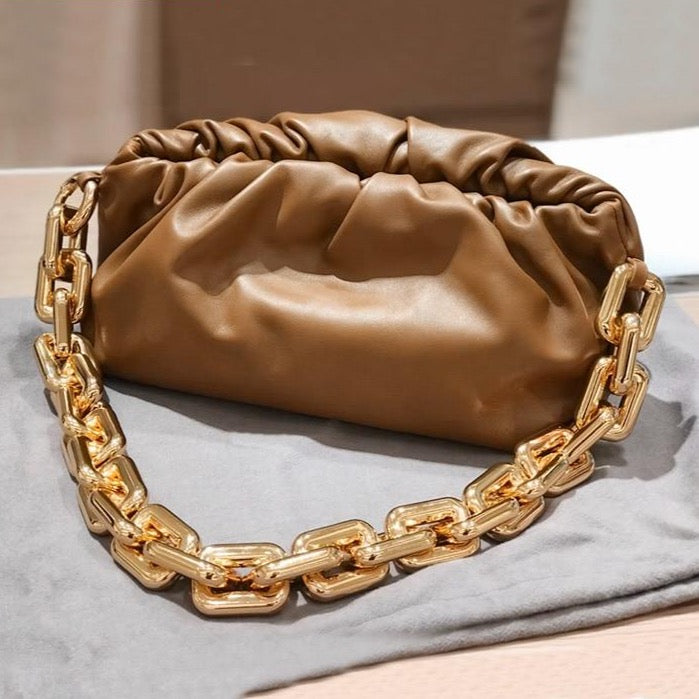 Gold Chain Leather Soft Shoulder Bag