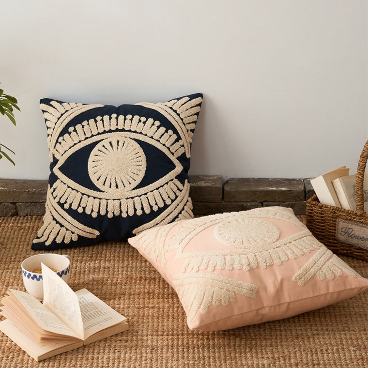 Eye Thread Embroidery Home Decorative Throw Pillow Cover