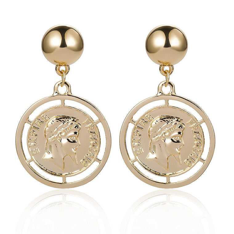 vintage coin drop earrings
