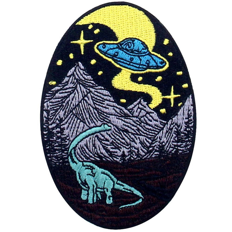 Dinosaur Trip with Aliens Embroidered handmade patch