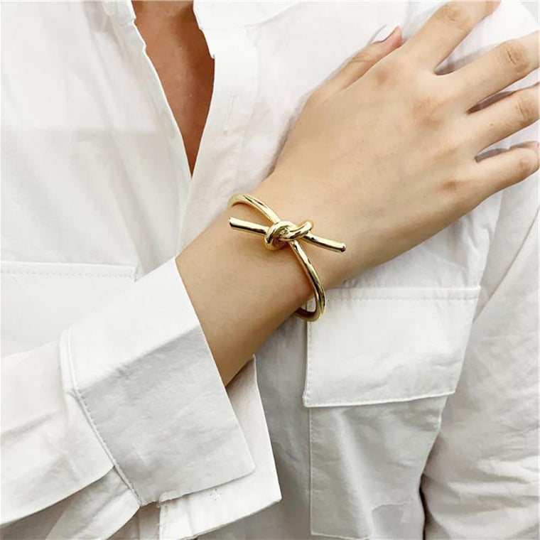 Gold Knotted Rope Cuff Bangle