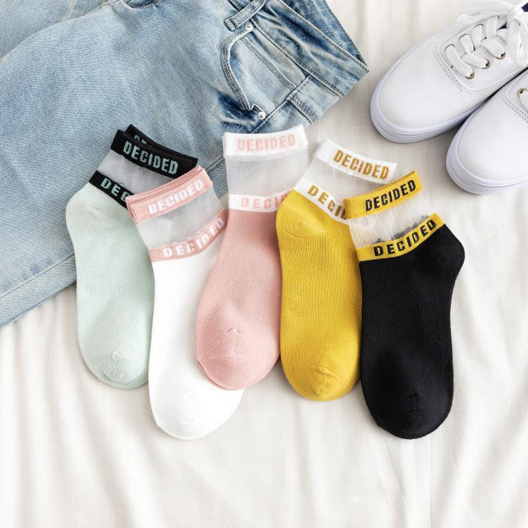 Transparent Stripped Letter Socks