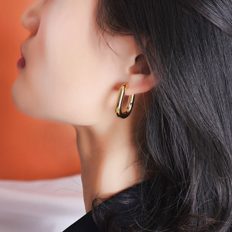 Gold Lock Buckle Hoop Earrings