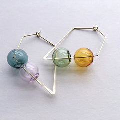 Hand Blown Bubble Hoop Earrings