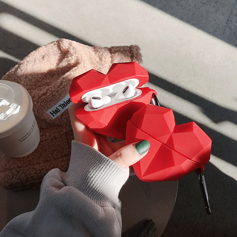 3D red heart Earphone case