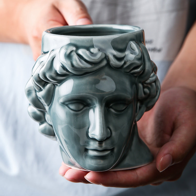 Ceramic Ancient Greek Apollo Sculpture Cup