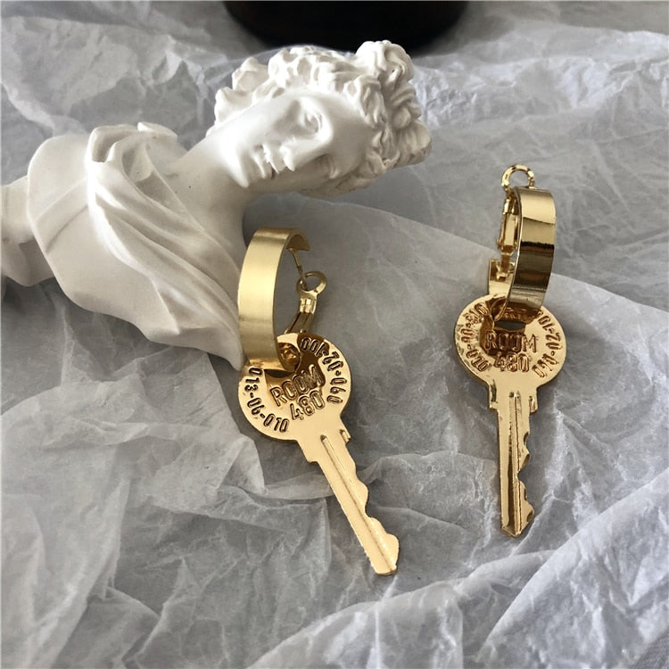 Metal key Drop Earring