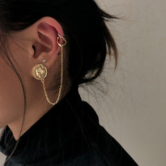 Long Chain Ear Cuff Coin Earrings