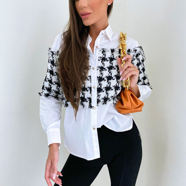 Venesa black and white shirt