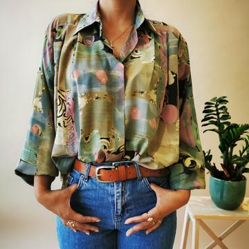 Water colors brush stroke oversized vintage shirt