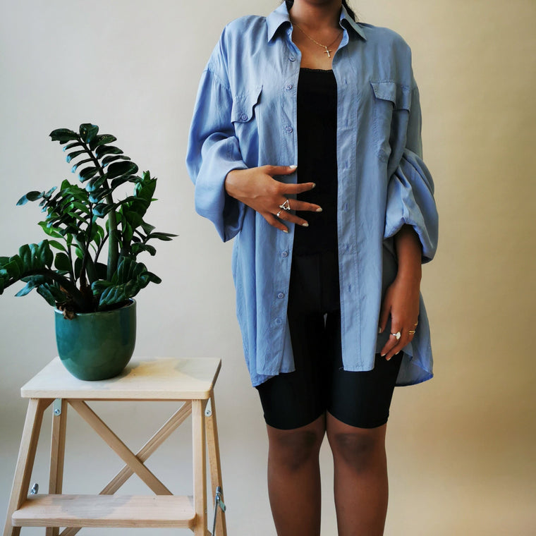 Pure silk pigeon blue oversized blouse