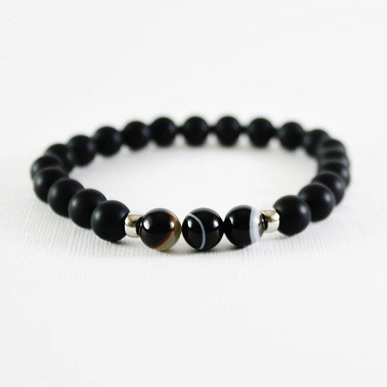 Lace Agate on Matte Black Bracelet - 8mm