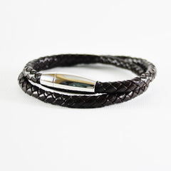 Braided Leather Bracelet, Dark Brown