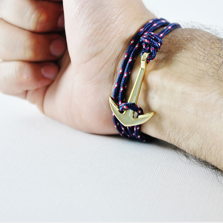 Navy/Red - Gold Anchor Bracelet