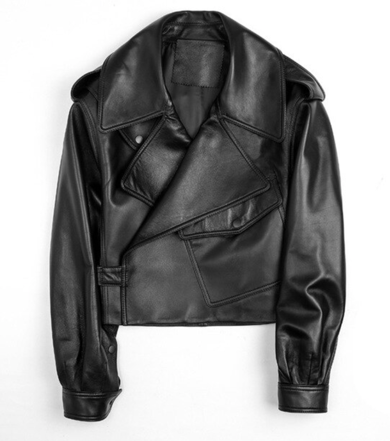 Black Leather oversized Jacket
