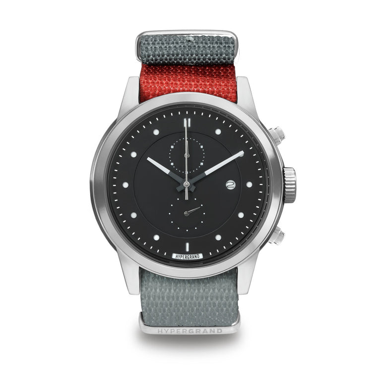 Maverick Chrono Silver Black - Pulse Red