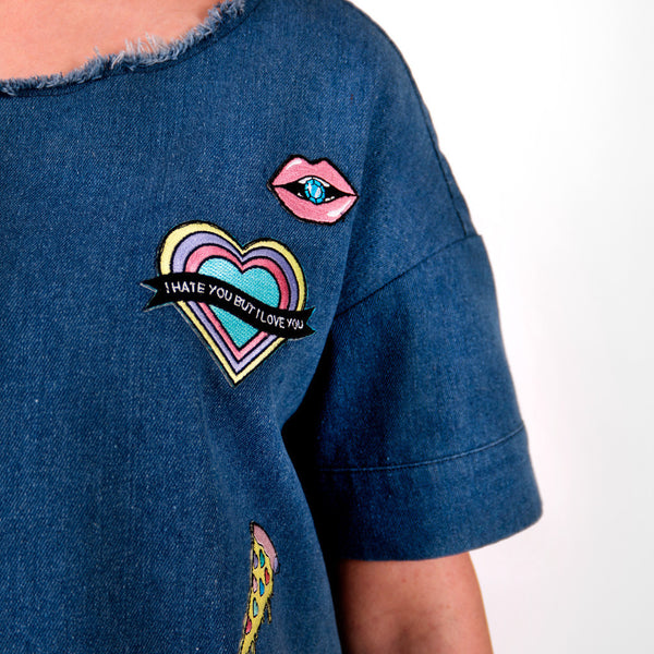 Patches Denim Top