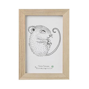 """Peaceful Mouse"" - Wooden Frame Decor for Playroom by Bloomingville"