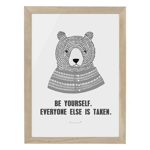 """Be Yourself"" - Wooden Frame Decor for Playroom by Bloomingville"