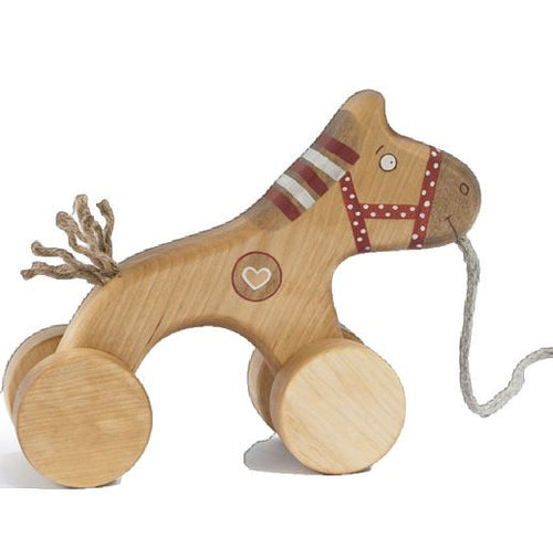 wooden pull along horse toy