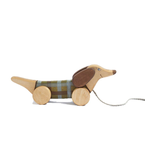 wooden pull along dog toy