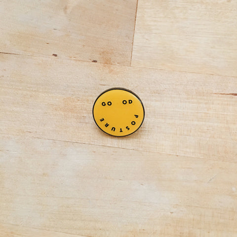 Good Posture Smiley Enamel Pin