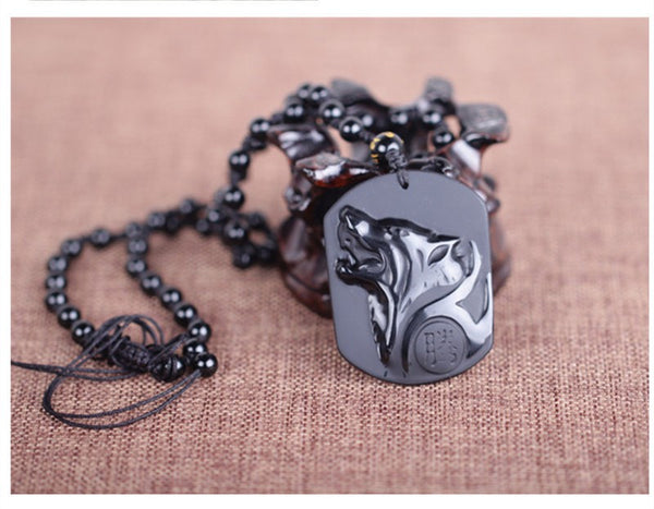 Black Carved Wolf Necklace