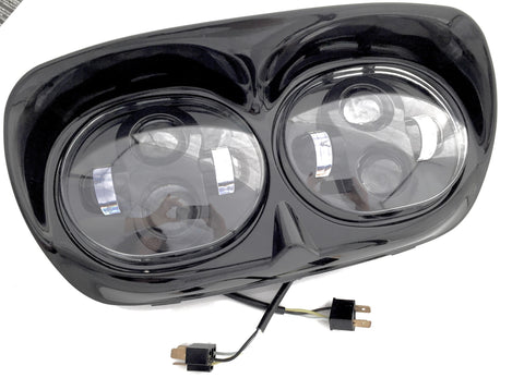 HRGLEDAB - Harley Dual LED Road Glide Headlamp Black