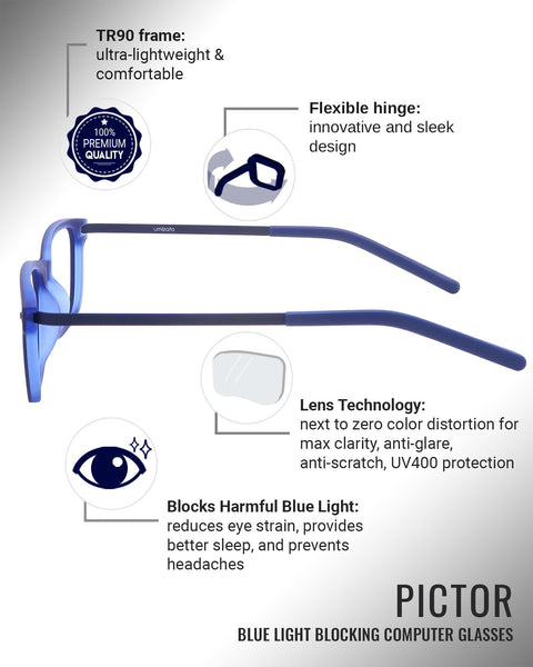 Pictor blue light blocking glasses features infographic
