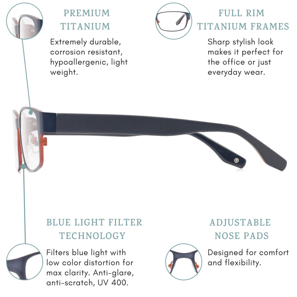 Ouray blue light blocking glasses features infographic.