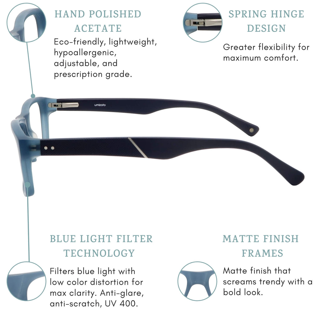 volos blue light blocking glasses features infographic.