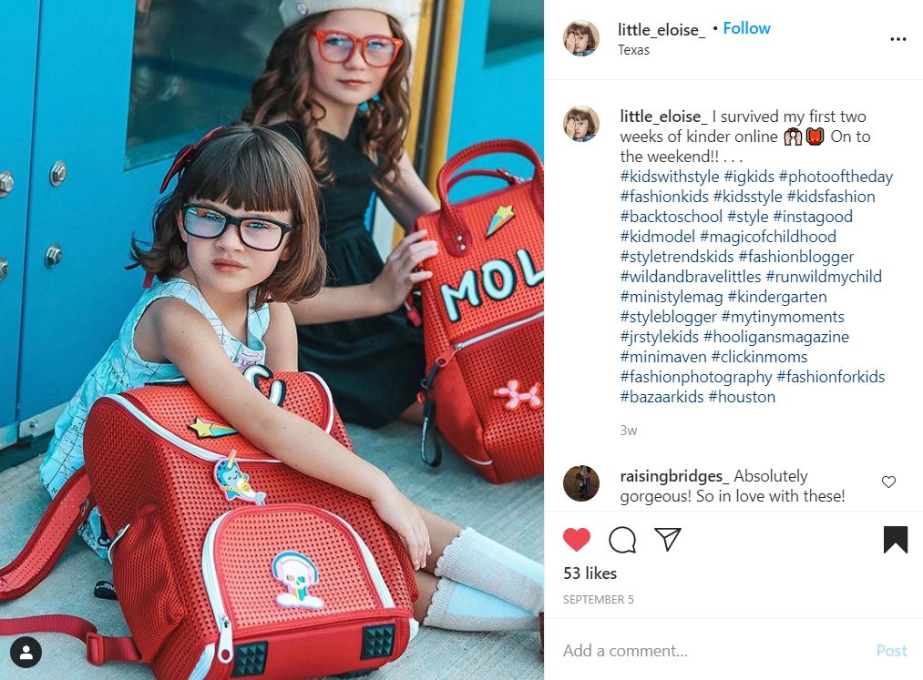amycarson720 with her Umizato blue blockers while on her first day of school